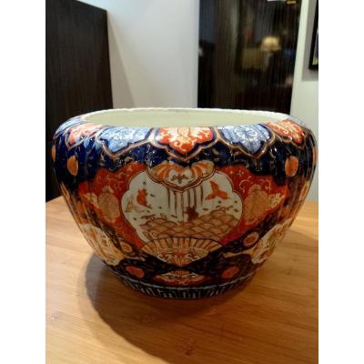 Japon, Fin Du XIXème Siècle, ère Meiji, Important Cache-pot En Porcelaine Décor Imari.