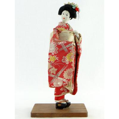 Japan, 1950s Doll. Biscuit Head And Silk Clothes.