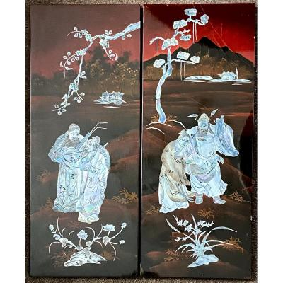 Vietnam, Years 1950/1960, Pair Of Lacquer Panels Inlaid With Mother Of Pearl.