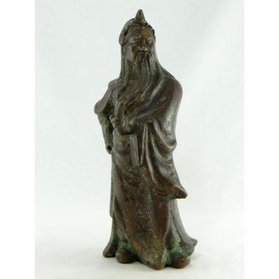 China, XIXth Century Or Earlier, Bronze Sculpture Figuring Guandi.