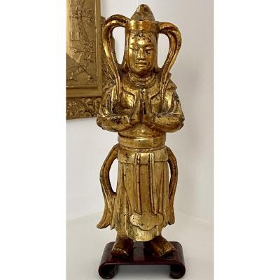China Or Vietnam Around 1900, Lacquered Wood Statue Of Wei Tuo, Guardian Of The Temple.