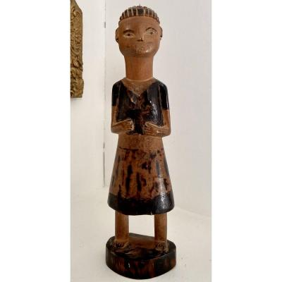 Tanzania, Tabwa People, Mid XXth Century, Female Figure In Carved Wood.