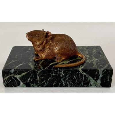 France, End Of The XIXth Century, Mouse Paper Plate In Gilt Bronze On Marble Base.