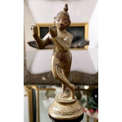 India, XIXth Century, Bronze Sculpture Containing Shiva Playing The Flute.