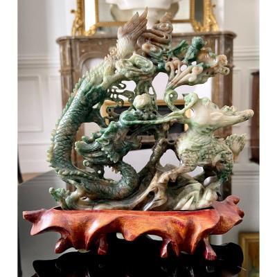 Chine, Années 1950/1960, Groupe En Pierre Dure Dragon Et Kilin.