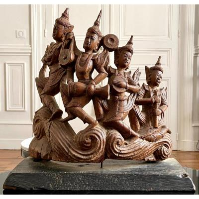 Burma, Beginning Of The XXth Century, Wooden Sculpture Four Musicians, Possibly Nat.