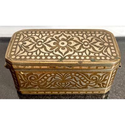 Art Islamique, Philippines, XIXème Siècle, Boîte à Chaux Pour Bétel En Bronze Et Argent.