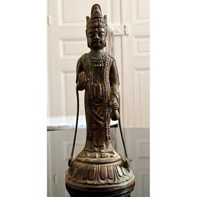 Japan Circa 1900, Meiji Era, Bronze Kannon Statue.