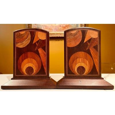 France, Art Deco Period, Around 1925, Large Pair Of Inlaid Wood Bookends.