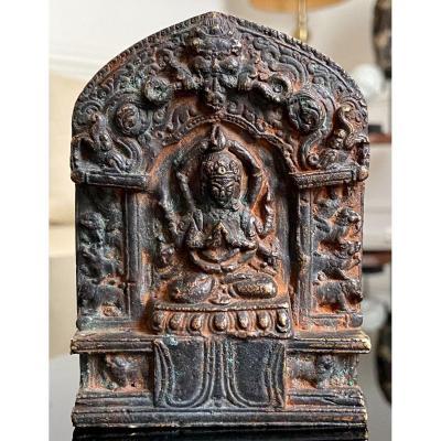 Nepal, Beginning Of The XIXth Century, Rare Bronze Altar Dedicated To Bodhisattva Sadaksari.