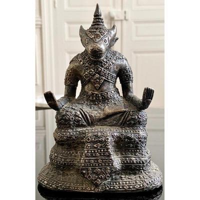 Thailand, First Third Twentieth Century, Silver Bronze Statuette Deity Bull Head.