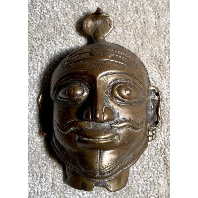 Inde Du Sud, XIXème Siècle, Masque De Shiva Mukhalinga En Bronze.