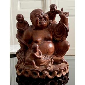China, Early 20th Century, Carved Wood Group Laughing Buddha And Children Playing.