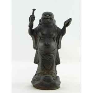 Chine, Années 1930/1950, Statuette En Bronze De Putaï, Dieu Du Bonheur.