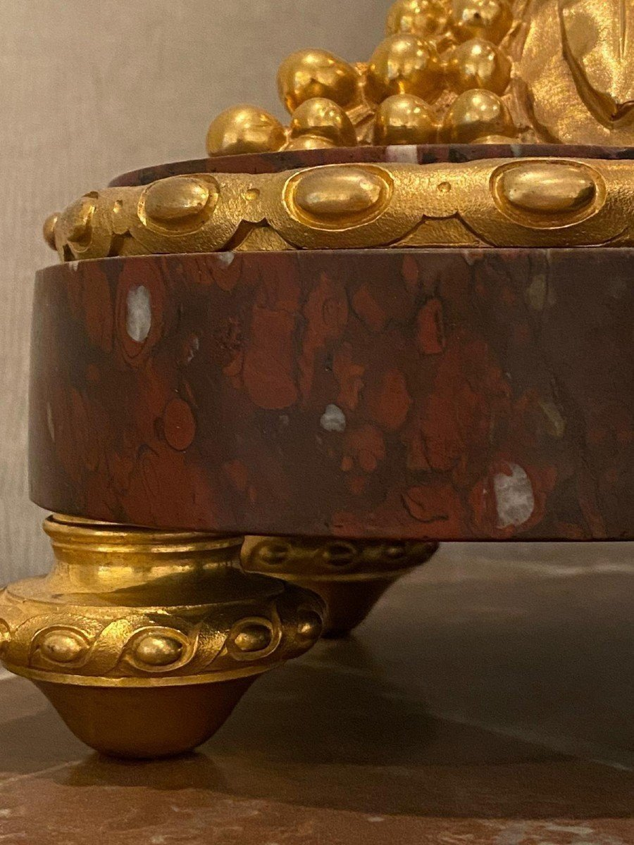 Pendule Marbre Rouge Louis XVI-photo-5