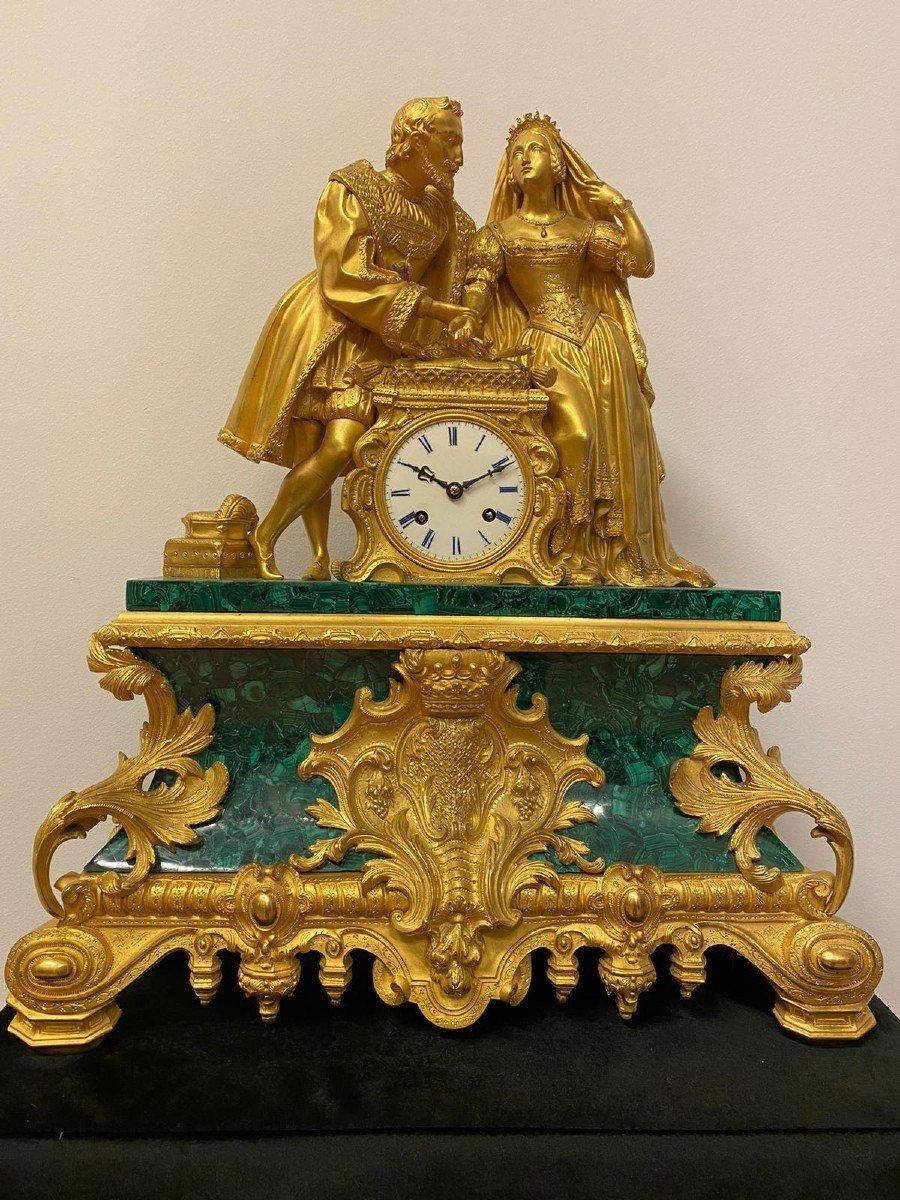 Pendule En Malachite d'époque Louis XVI