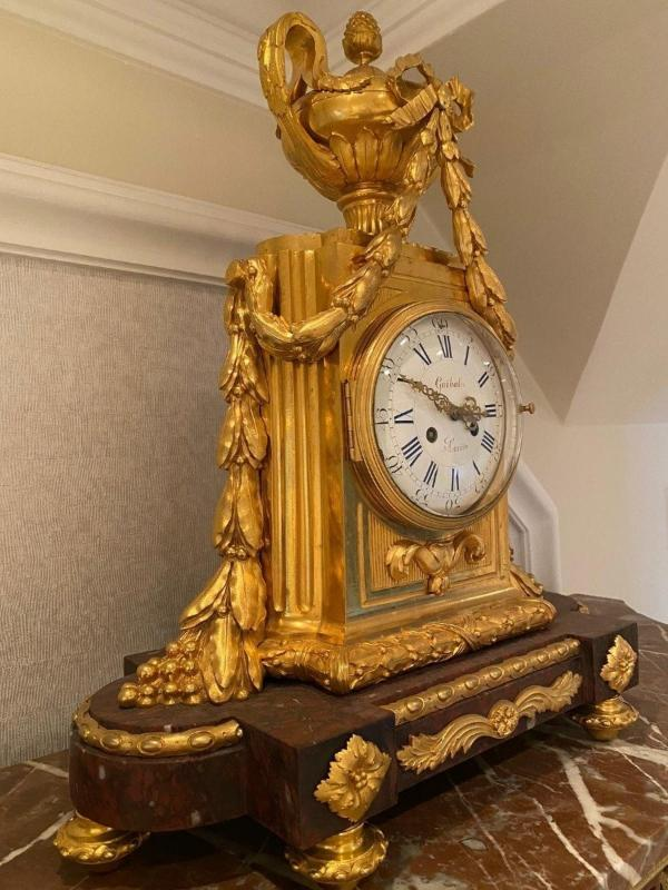 Pendule Marbre Rouge Louis XVI-photo-2