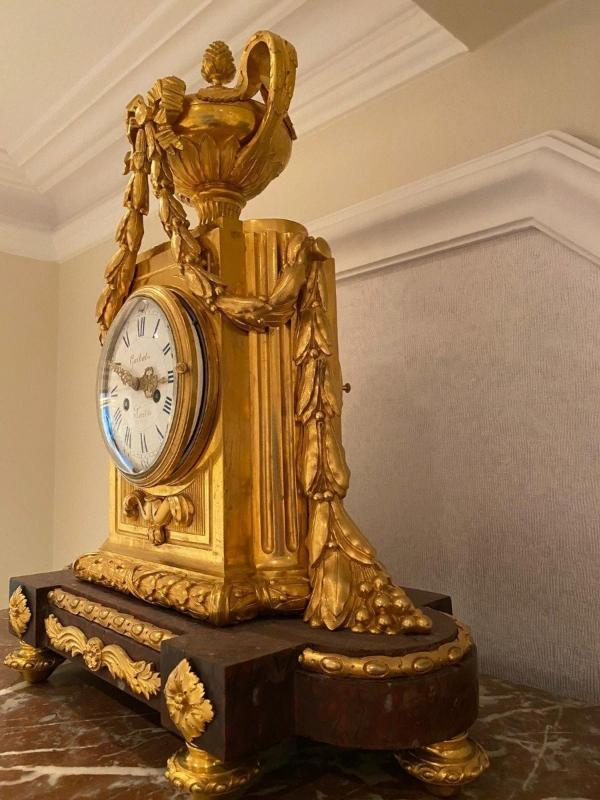 Pendule Marbre Rouge Louis XVI-photo-3