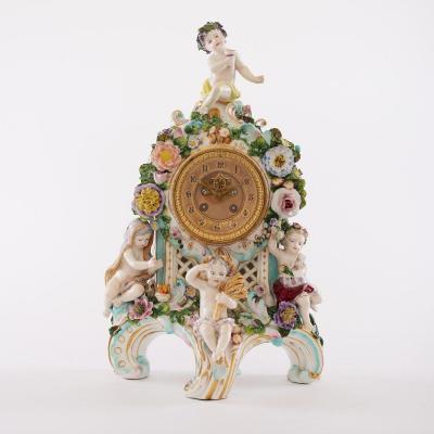 Pendule En Porcelaine De Dresde 19ème Siècle