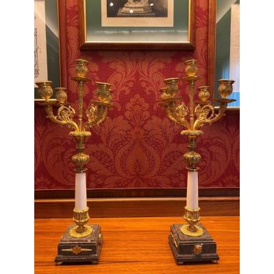 Pair Of Candlesticks In Gilt Bronze And White Marble