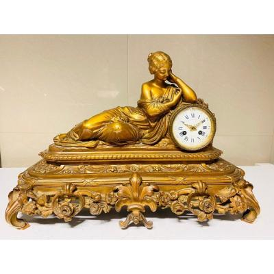 A Mantel Clock In Gilt Bronze Napoleon III