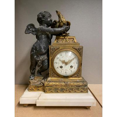 19th Century French Chiming Mantel Clock Angel With Rooster