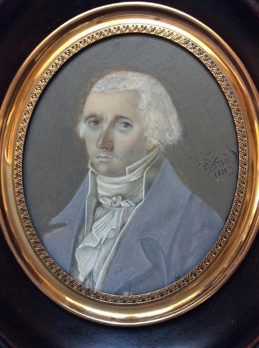 """Cornu """"Portrait Miniature sur Ivoire d'un joueur"""" 1811"""