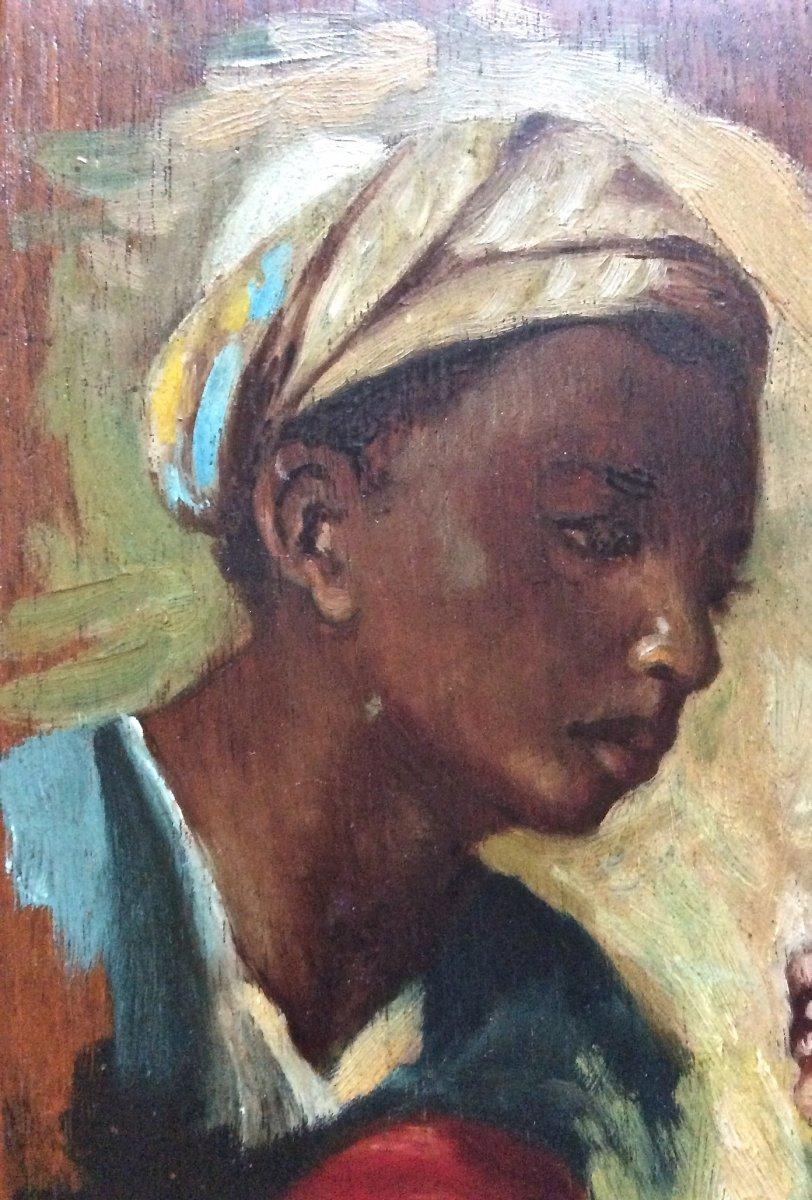 Children's Faces Painted On Palette By J. Doris. Orientalist School Of The Nineteenth.-photo-2