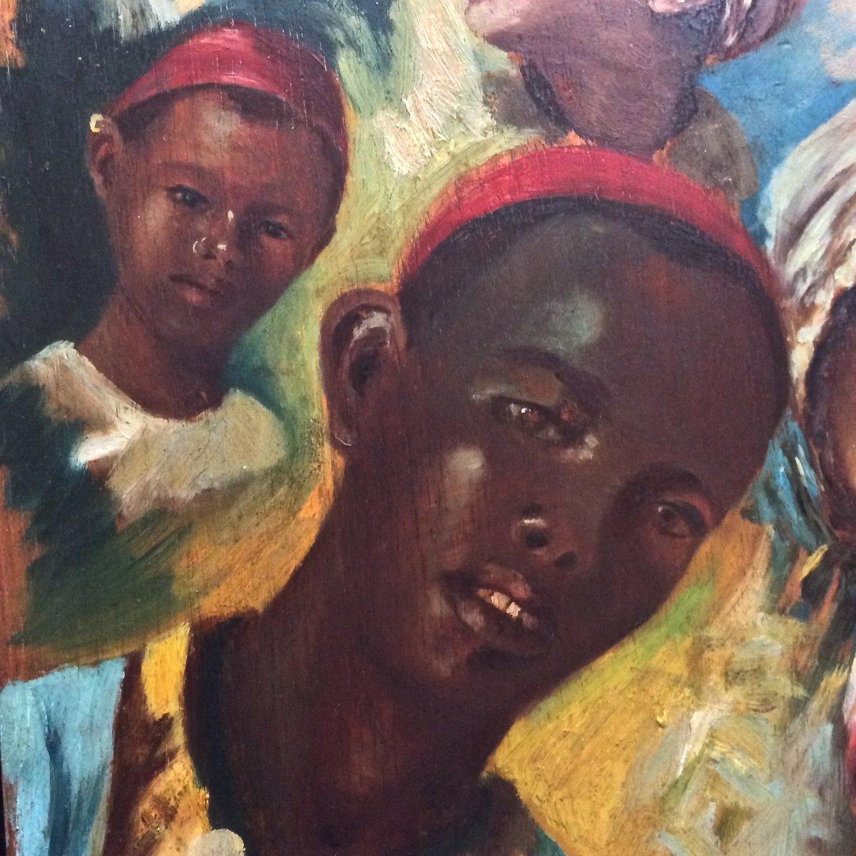 Children's Faces Painted On Palette By J. Doris. Orientalist School Of The Nineteenth.-photo-3