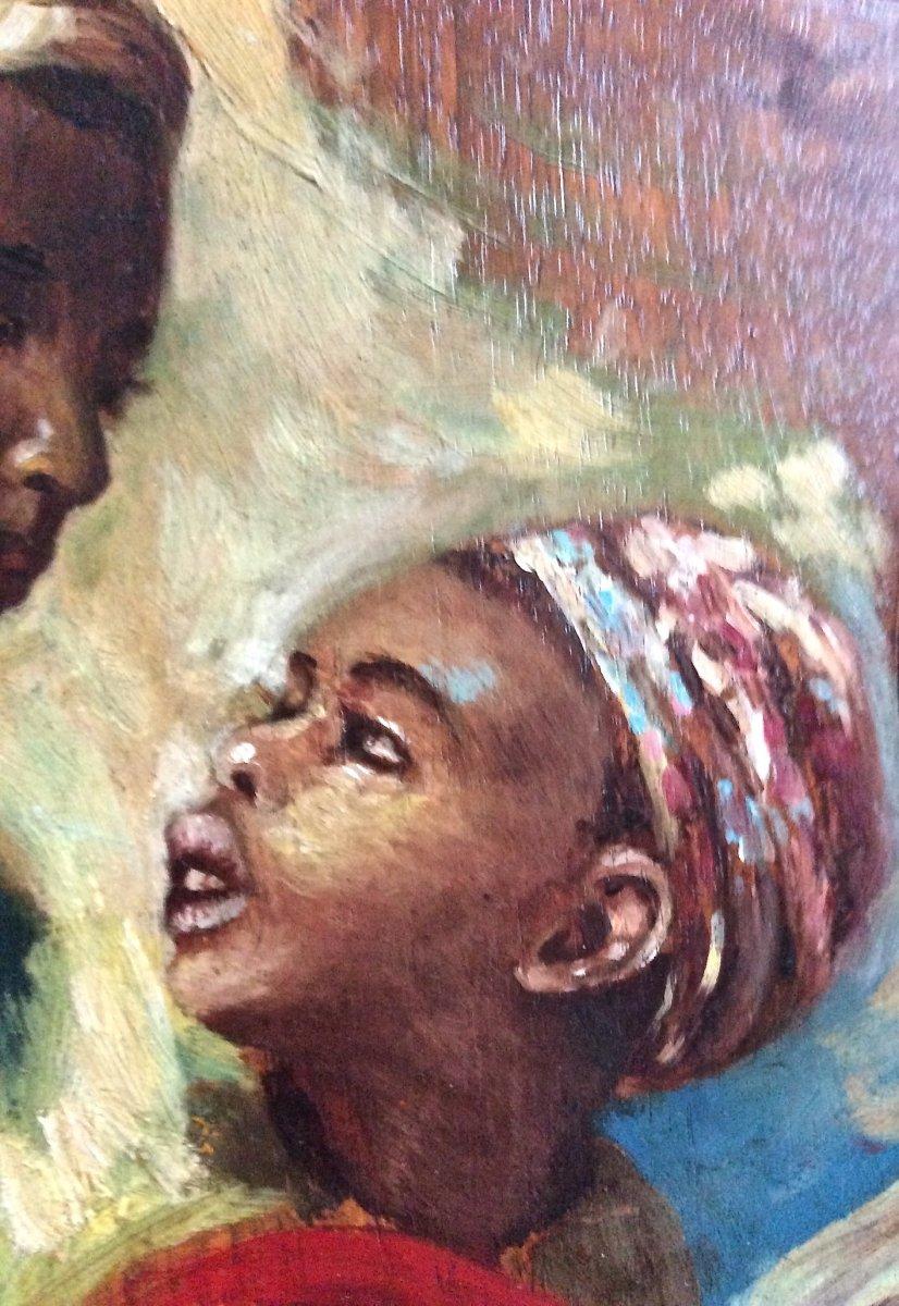 Children's Faces Painted On Palette By J. Doris. Orientalist School Of The Nineteenth.-photo-4