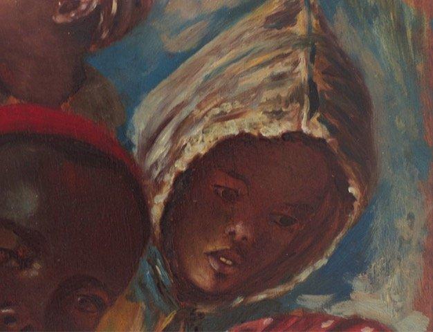 Children's Faces Painted On Palette By J. Doris. Orientalist School Of The Nineteenth.-photo-1