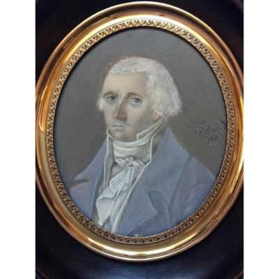 "Cornu ""miniature Portrait Of A Gambler On Ivory"" 1811"