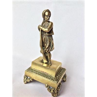 """Orientalisme """"Zouave"""" Petit bronze doré"""