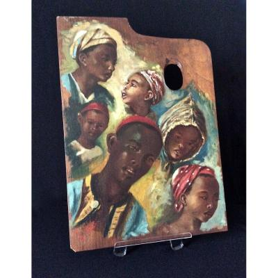 Children's Faces Painted On Palette By J. Doris. Orientalist School Of The Nineteenth.