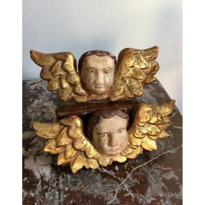 Angels 18th Century Italy. Paper Mache Gold And Polychromy