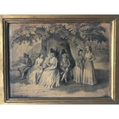 Family Under An Oak. 18th Century Drawing. 1786
