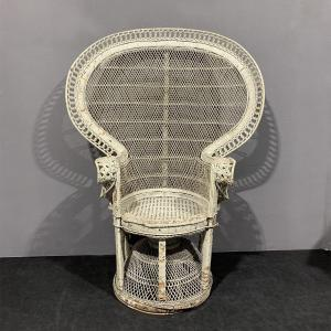 Emmanuelle Pavone Armchair In Lacquered Wicker, 1970
