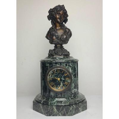 Clock Female Bust Signed Marin