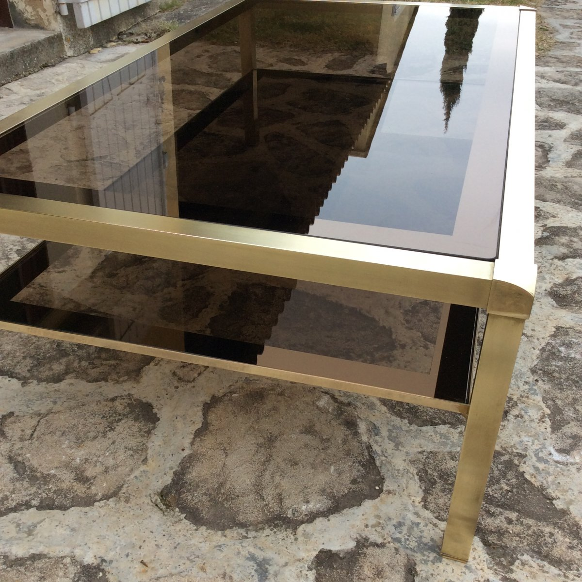 Table Basse Laiton Et Verre
