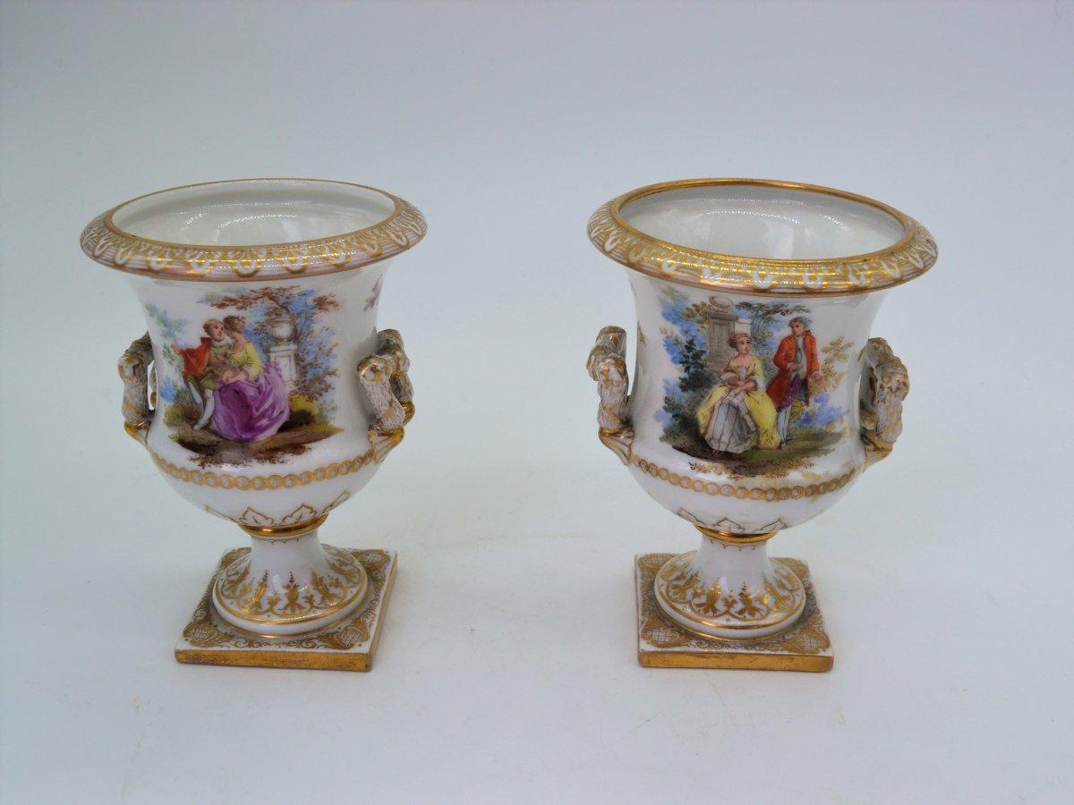 Pair Of Medicis Porcelain Vases - Berlin XIXth