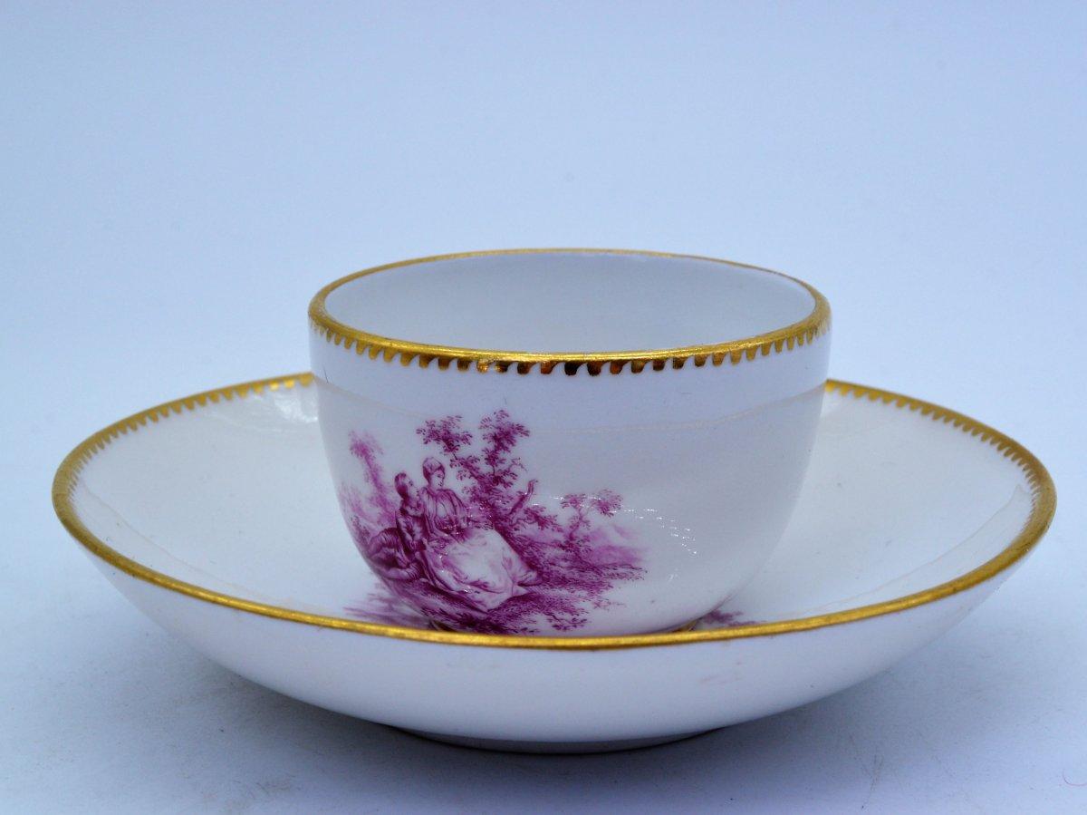 Tasse Meissen en Porcelaine XIXe Siècle, Camaieu Violet