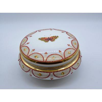 Porcelain Candy Dish With Applied Enamel Decoration And Butterfly - Early 20th Century