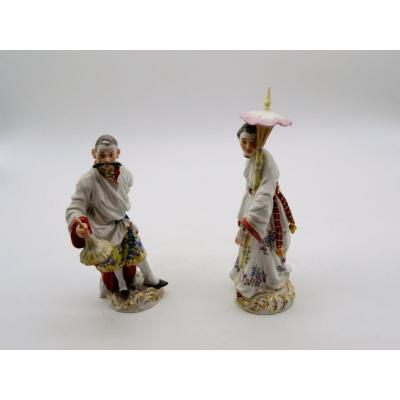 Couple asiatique en porcelaine de Meissen XXeme