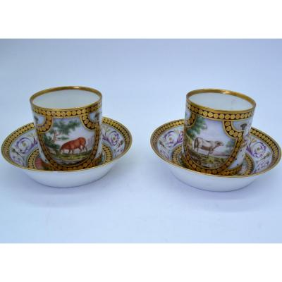 Pair Of Cups Marked Cretté Late XVIII - Manufacture Bruxelle