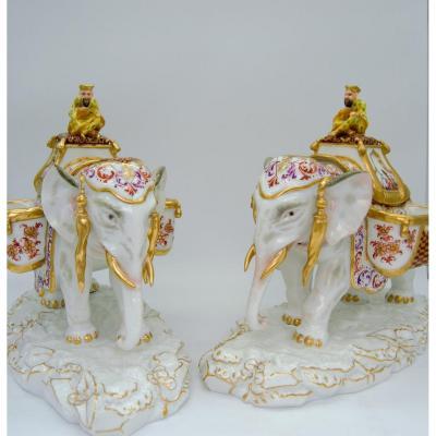 Pair Of Porcelain Elephants - Covered Pots - Meissen XIXth