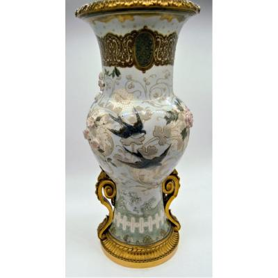 Albert Dammouse (1848-1926) Workshop At Sevres - Porcelain Vase