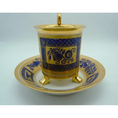Golden And Blue Tripod Cup - Paris Porcelain - XIXth