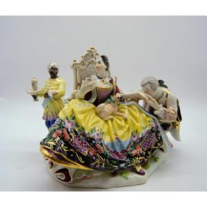Groupe En Porcelaine de Meissen – La Galante Courtisée –1950's