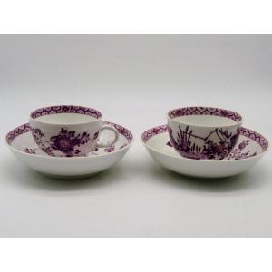 Paire De Tasses En Porcelaine De Meissen XVIIIème