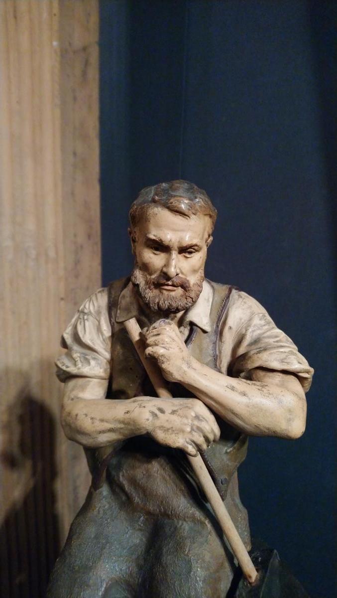 l'Heure Du Repos, Sculpture En Terre Cuite Signée J. Le Guluche